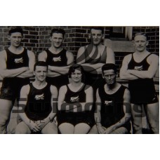 1930 Empire Games, Hamilton, Canada. L-R Back Row - S Lay, A Elliot, G Bridson, R Calder. Front Row - R Johnson, G Pidgeon, B Savidan