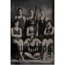 1926 Swimmers. L-R Back Row - C Head, N Dowsett, L Fairgray. Front Row - G Pidgeon, A Baird, E Stockley
