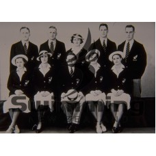 1938 Empire Games, Sydney. L-R Back Row - N Crump, P Hanan, M Leydon, J Davies, L Newell. Front Row - J McDonald, Mrs Sutherland (chaperone), EC Isaacs (manager), W Dunn, G Rix
