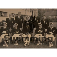 1954 New Zealand Empire Games, Vancouver. L-R Back Row - B Lucas, L Hurring, Mrs L Seagar (chaperone), J Doms. Front Row - M Roe, W Griffin, JC Kirkland (manager), J Laws, J Stewart