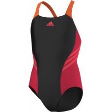 Adidas Colour Block Swimsuit - Black/Pink/Orange