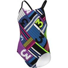 adidas Infitex+ Pulse Graphic 1-Piece Swimsuit - Black/Shock Purple/Blue